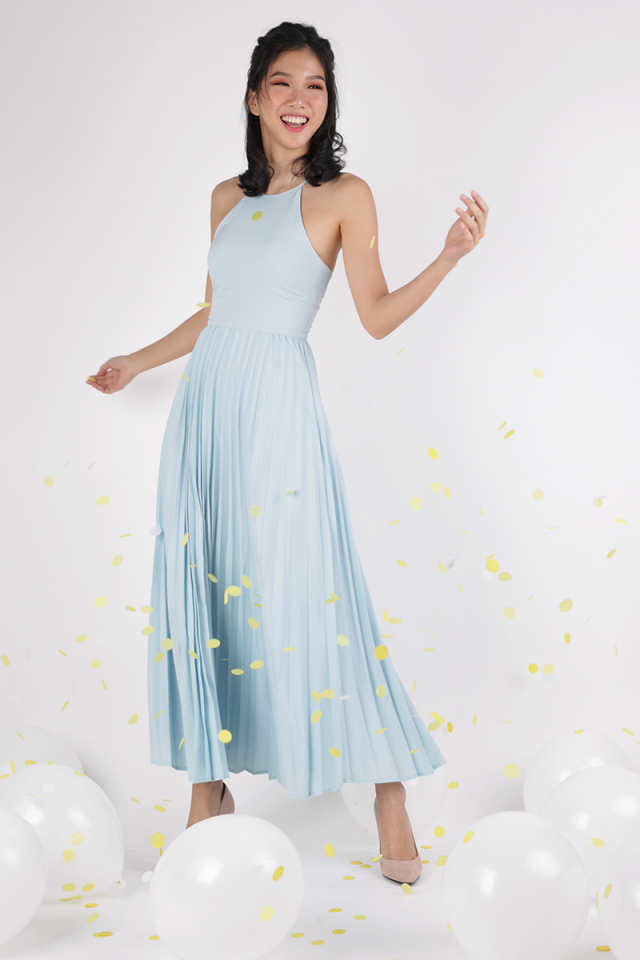 Abe Pleated Maxi Dress (Pastel Blue)