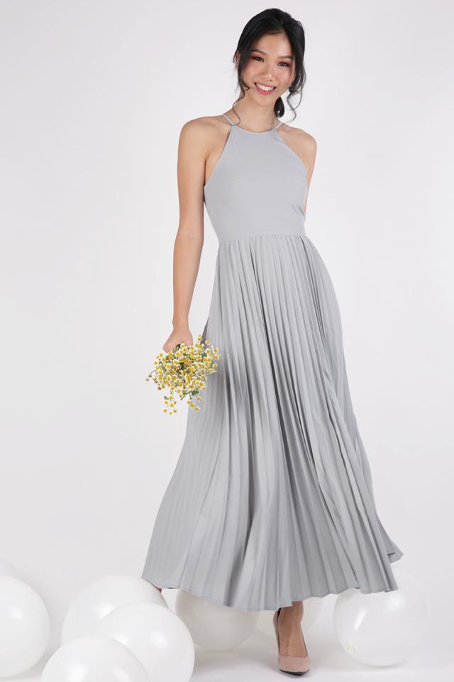 Abe Pleated Maxi Dress (Soft Grey)