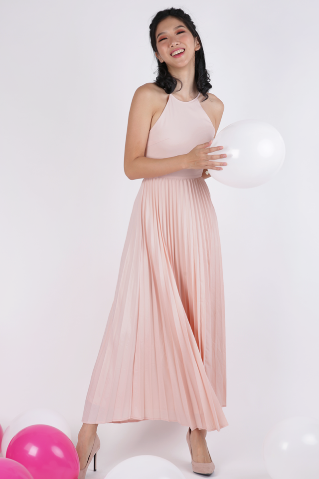 Abe Pleated Maxi Dress (Pastel Pink)