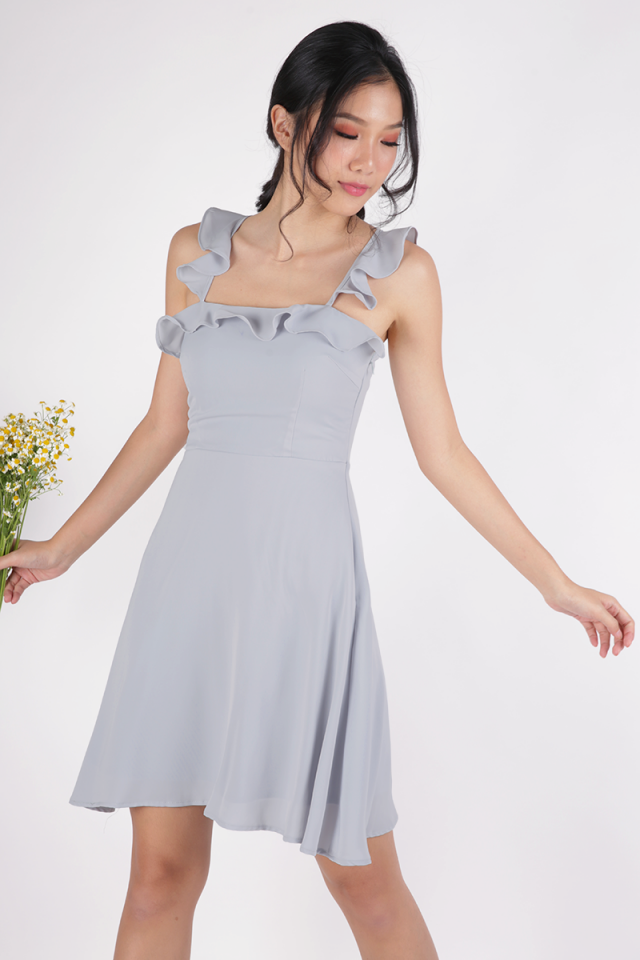 Julie Ruffles Spag Dress (Dove Grey)