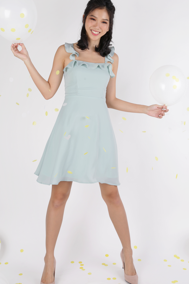 Julie Ruffles Spag Dress (Mint Green)