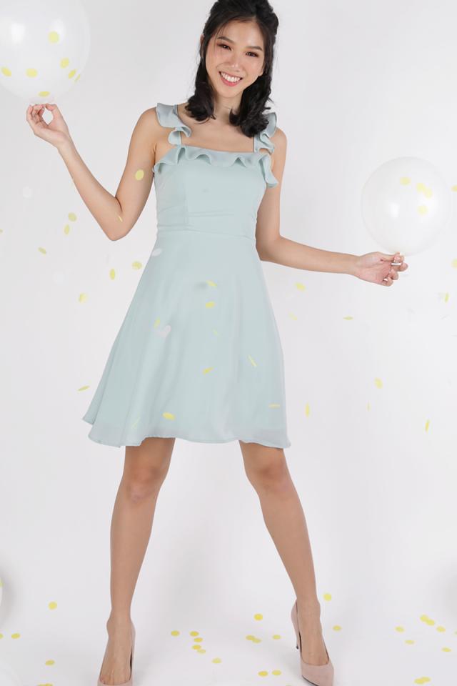 Julie Ruffles Spag Dress (Mint Green)