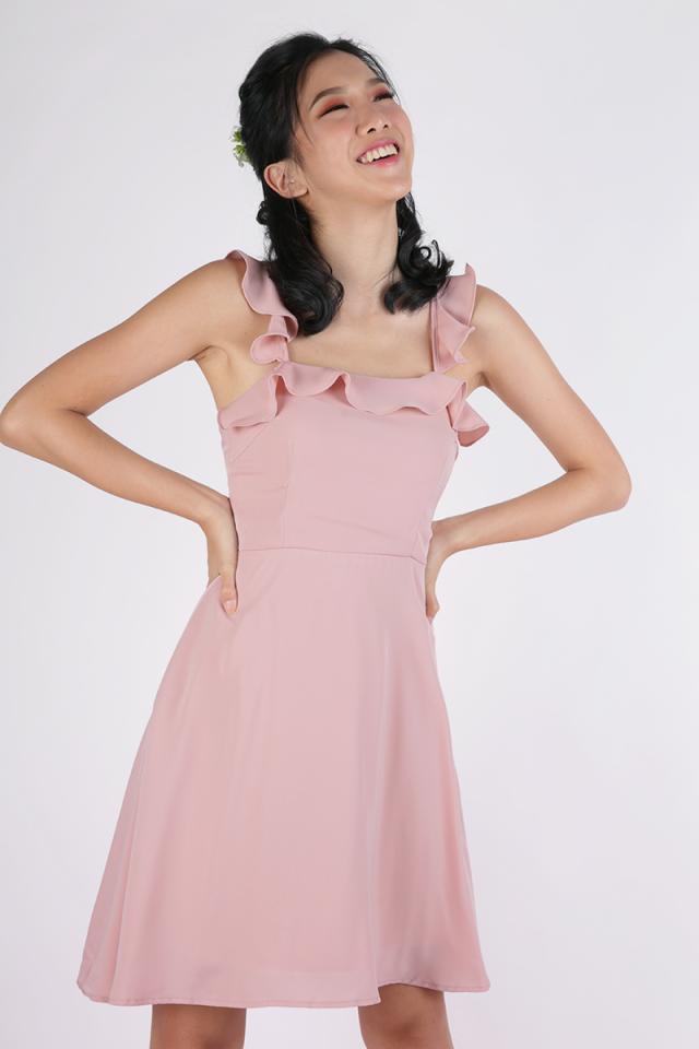 Julie Ruffles Spag Dress (Blush Pink)