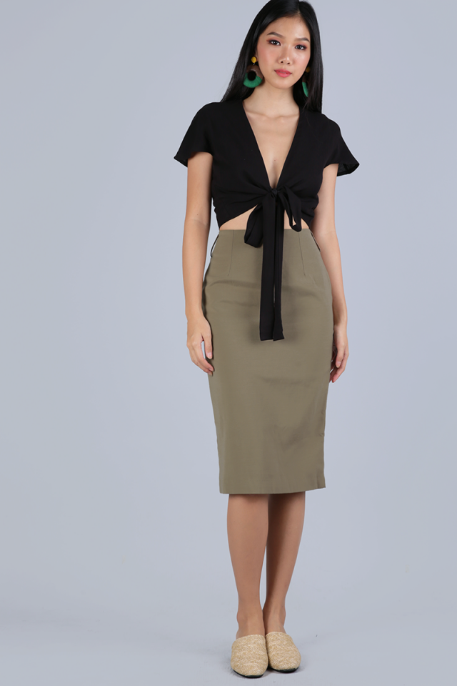 Lyle Pencil Skirt (Muted Olive)