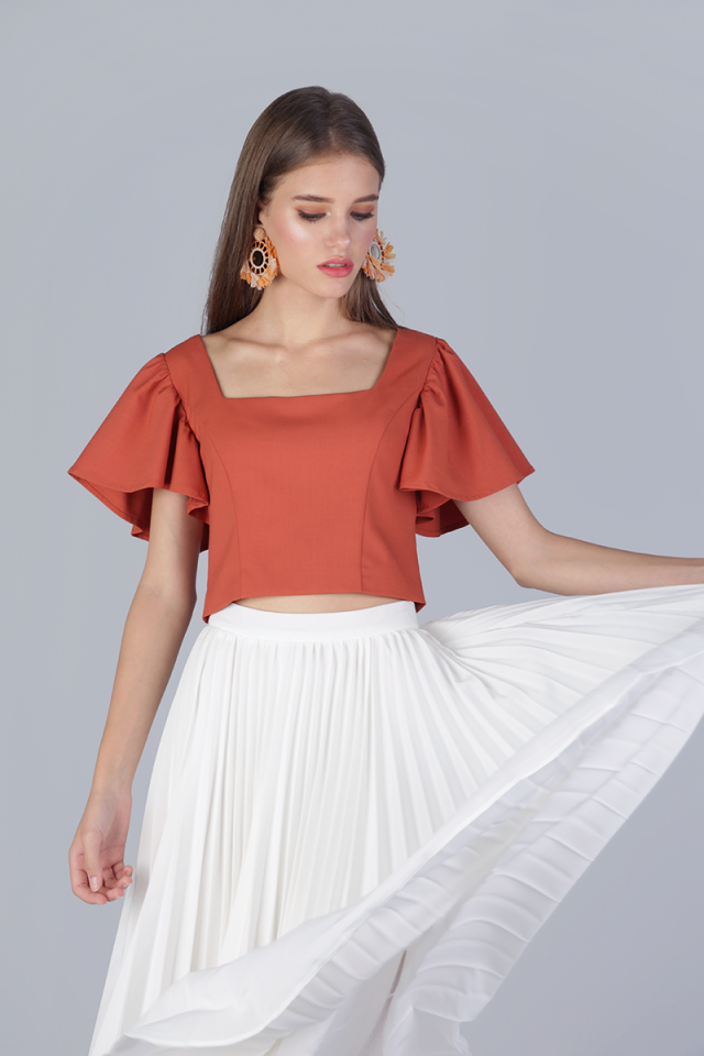 Ally Flutter Cropped Top (Tangerine)