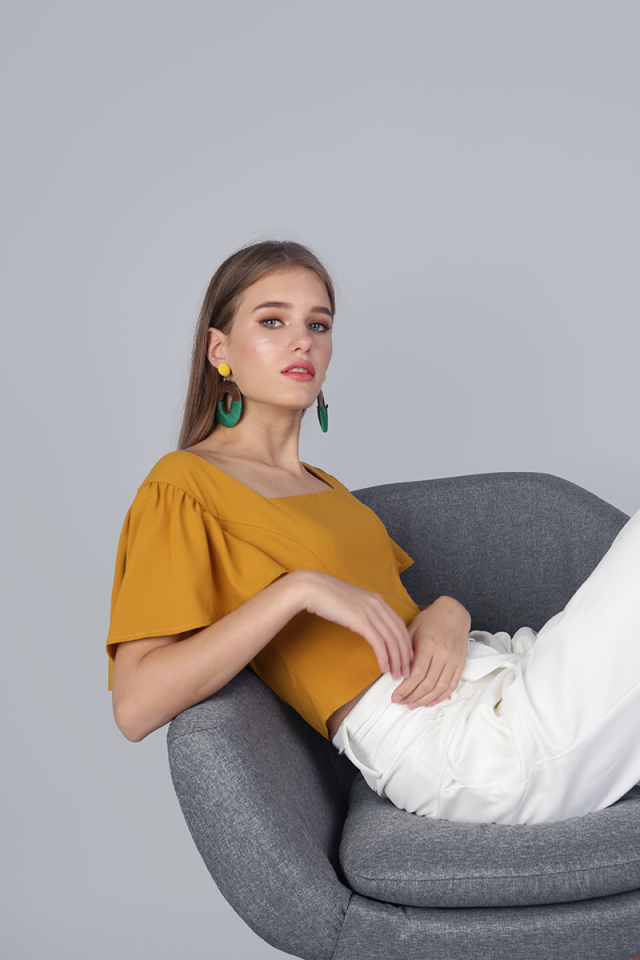 Ally Flutter Cropped Top (Mustard)