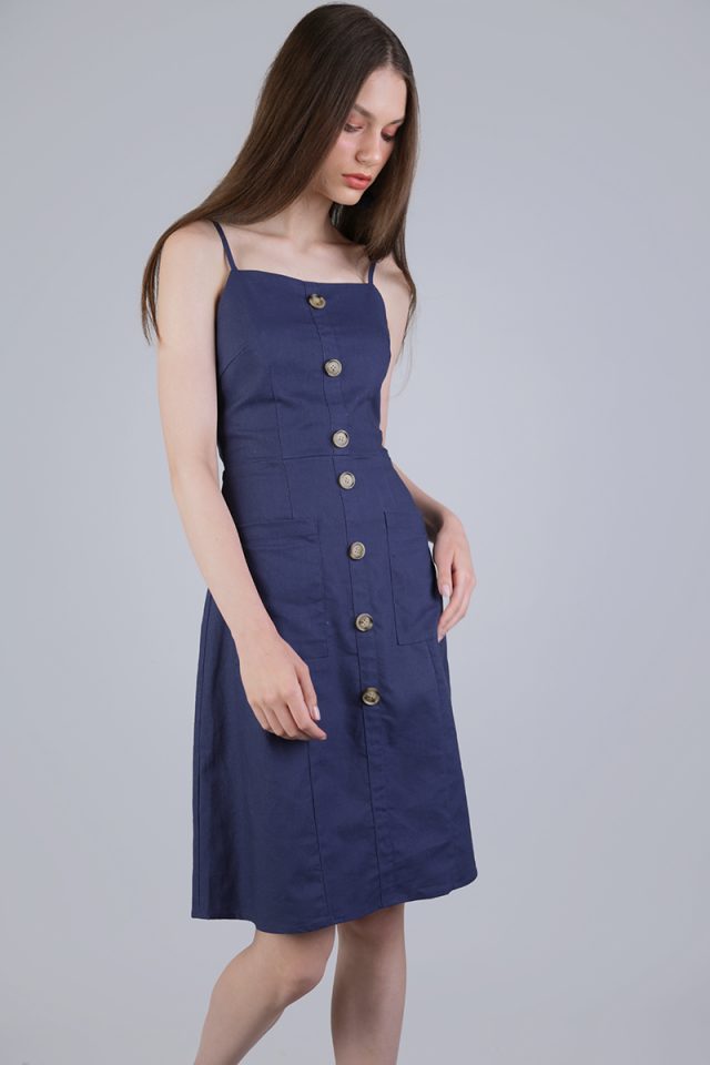 Jenya Button Midi Dress (Dark Blue)