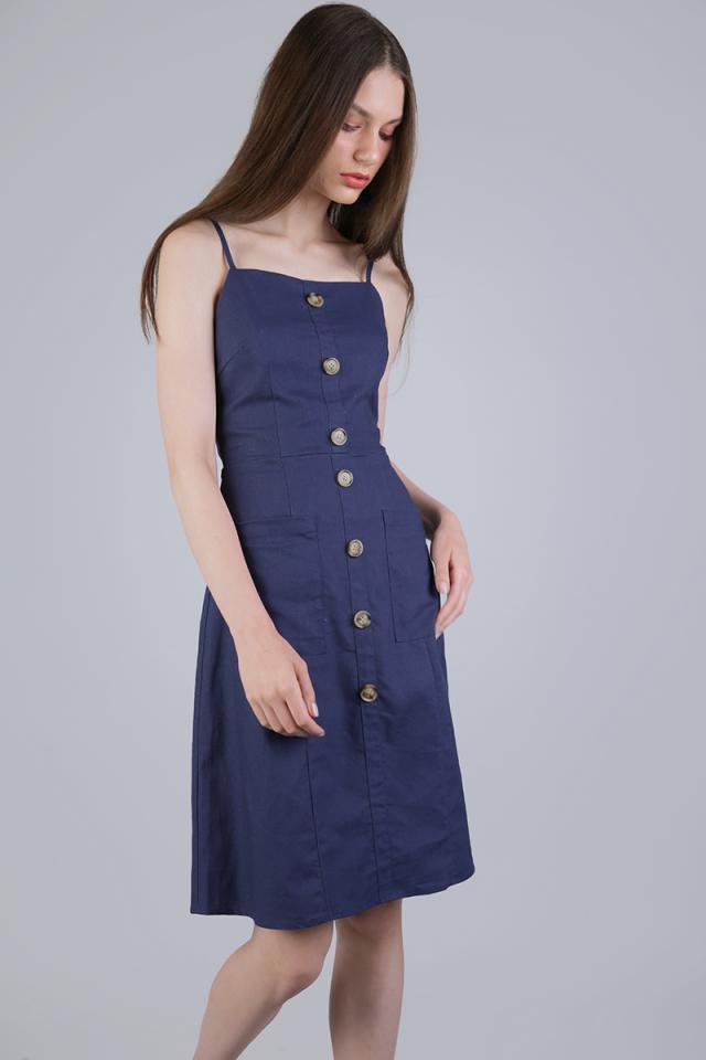 Jenya Button Midi Dress (Dark Blue)