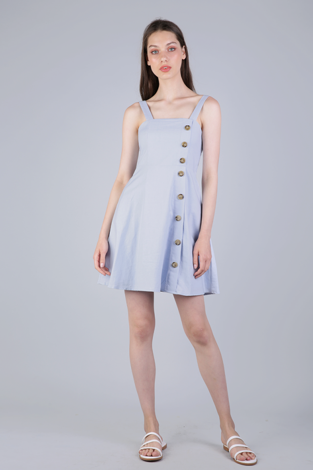 Nellie Button Flare Dress (Light Blue)