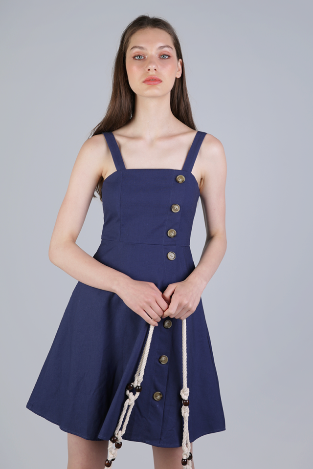 Nellie Button Flare Dress (Dark Blue)