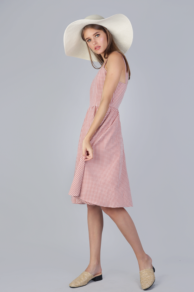 Marilyn Midi Dress (Pink Gingham)
