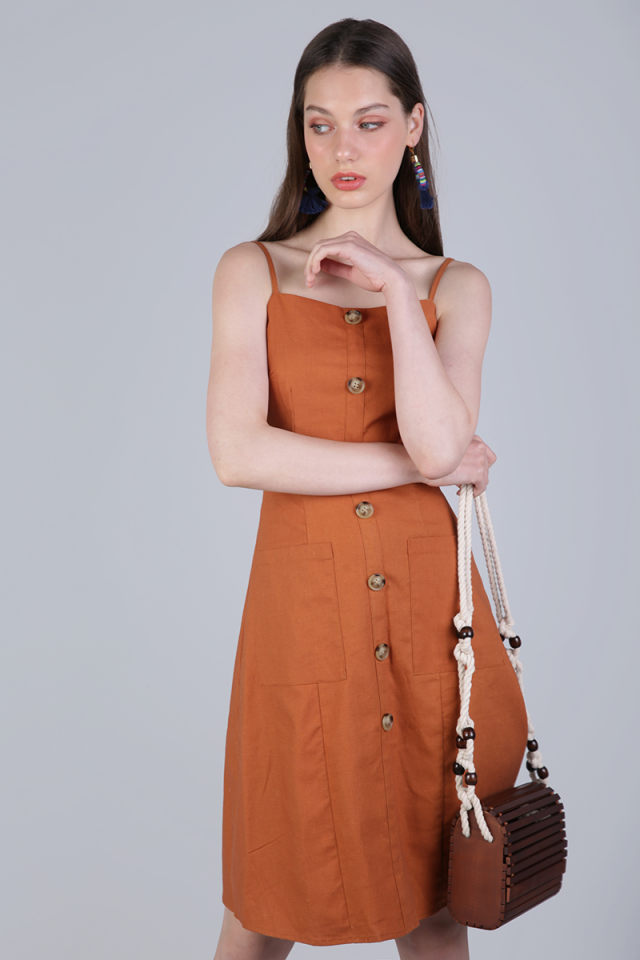 Jenya Button Midi Dress (Sienna)
