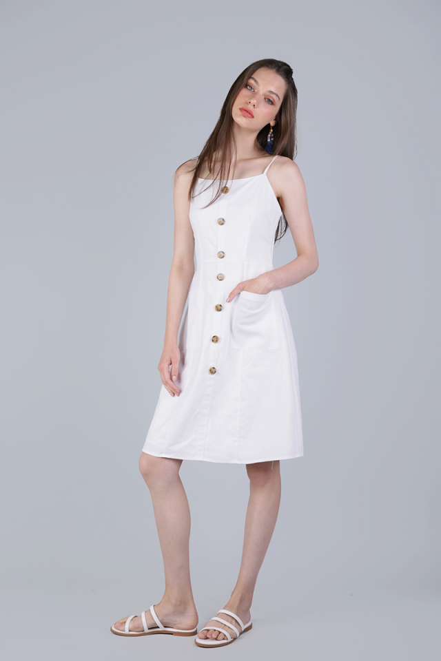 Jenya Button Midi Dress (White)