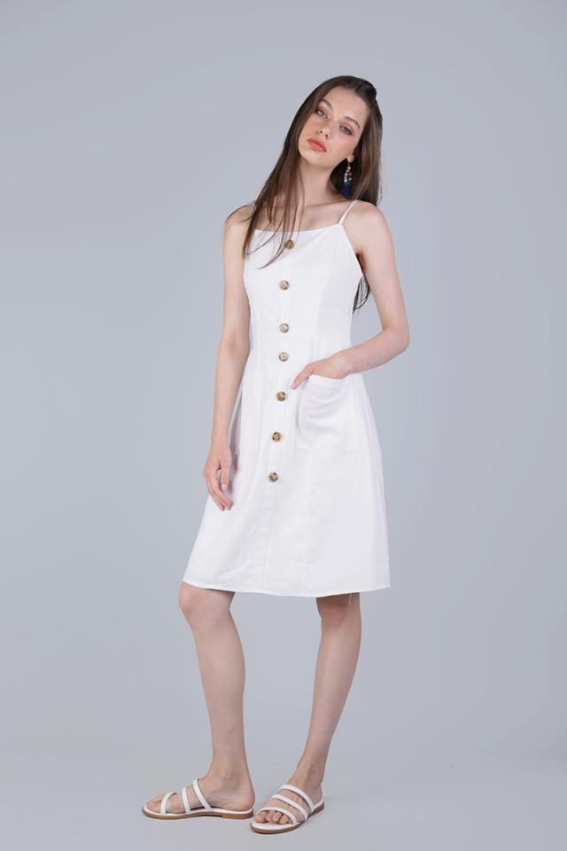 Jenya Button Midi Dress (White)