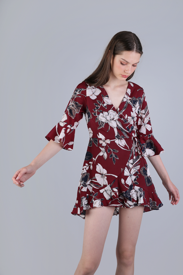 Hyacinth Frilly Romper (Red Florals)
