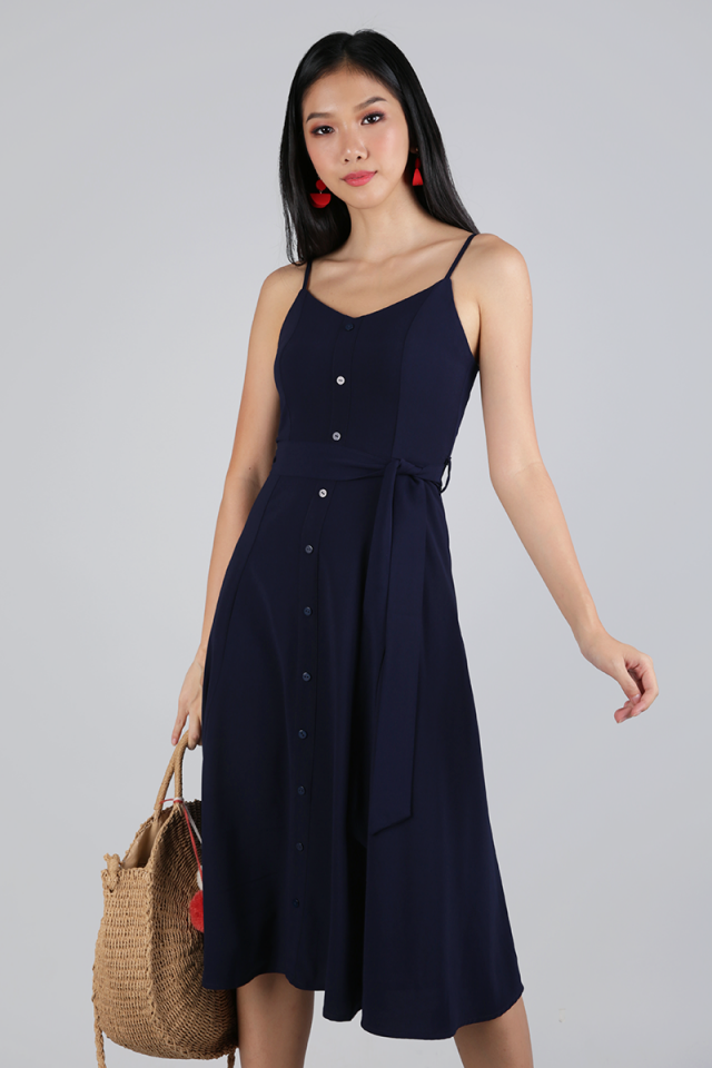 Izzy V Neck Midi Dress (Navy)