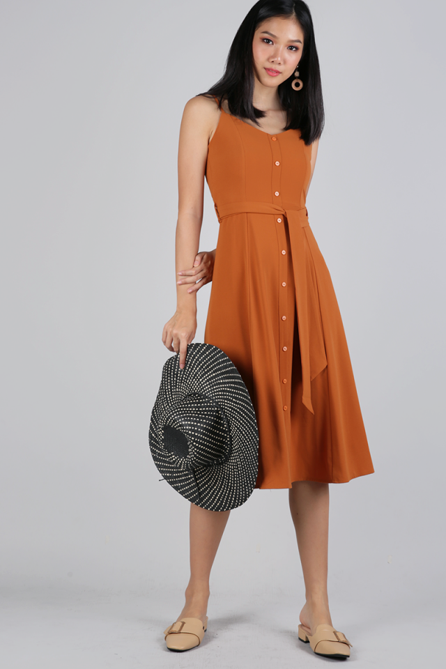 Izzy V Neck Midi Dress (Burnt Sienna)