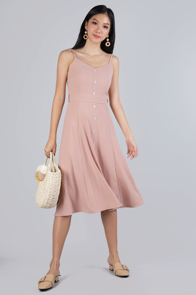 Izzy V Neck Midi Dress (Blush Pink)