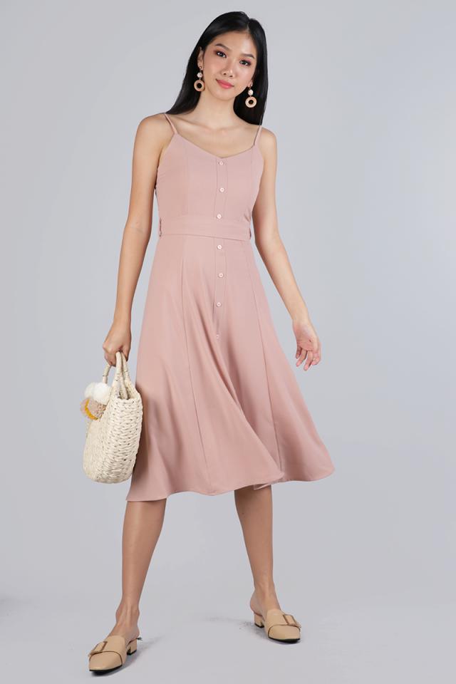 Izzy V Neck Midi Dress (Blush Pink)