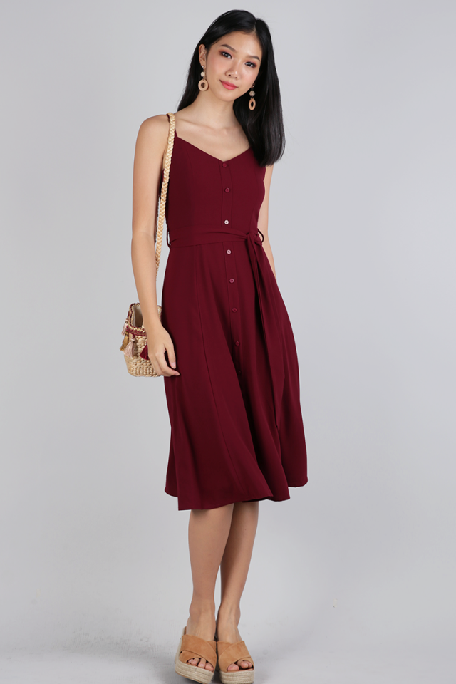 Izzy V Neck Midi Dress (Maroon)