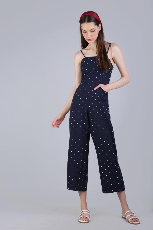 Adelia Jumpsuit (Navy Polka Dots)