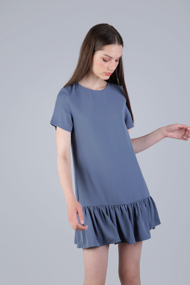 Kara Drop Hem Dress (Ash Blue)