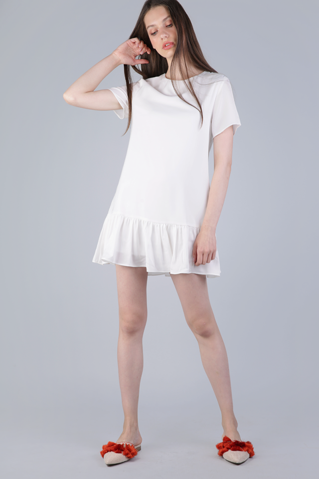 Kara Drop Hem Dress (White)
