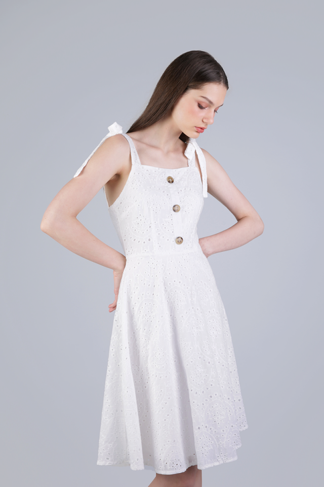 Portia Ribbon Tie Midi Dress (Eyelet)