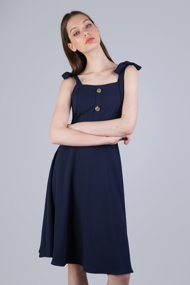 Portia Ribbon Tie Midi Dress (Navy)