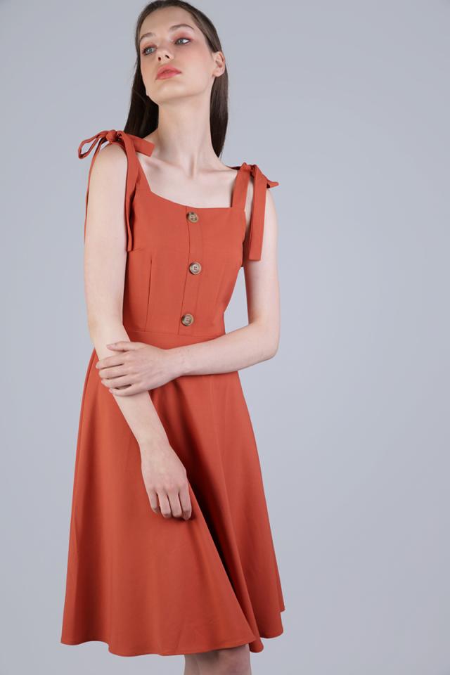 Portia Ribbon Tie Midi Dress (Sienna)