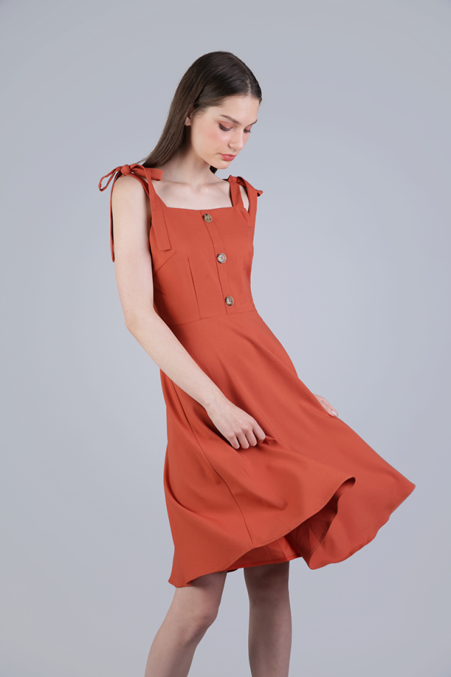 Portia Ribbon Tie Midi Dress (Sienna)