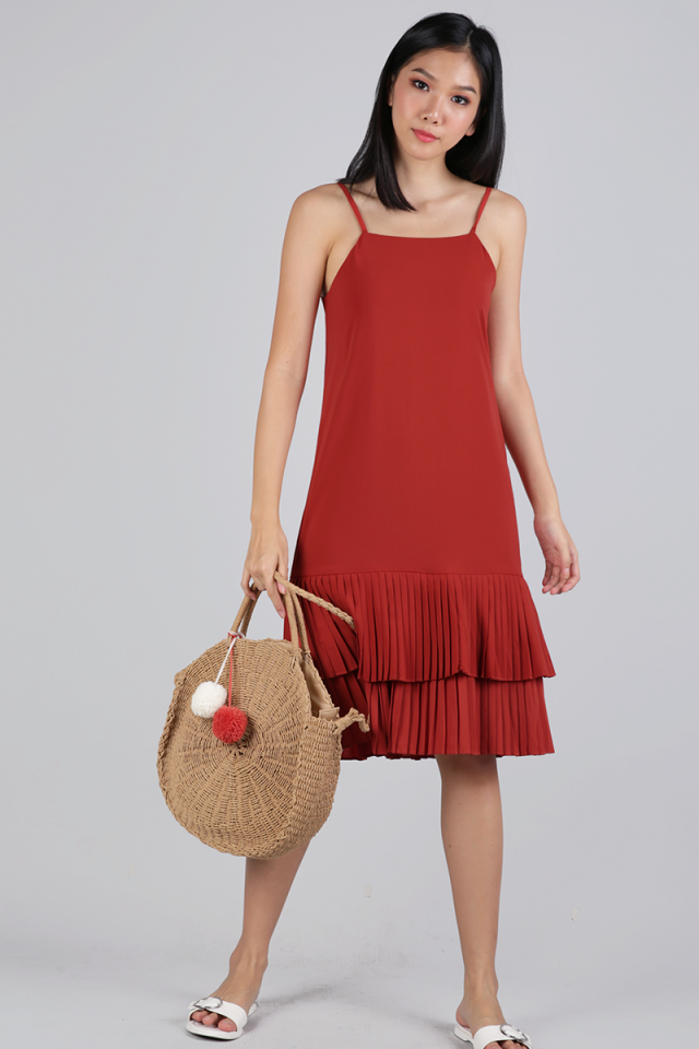 Darlene Pleated Dress (Brick Red)