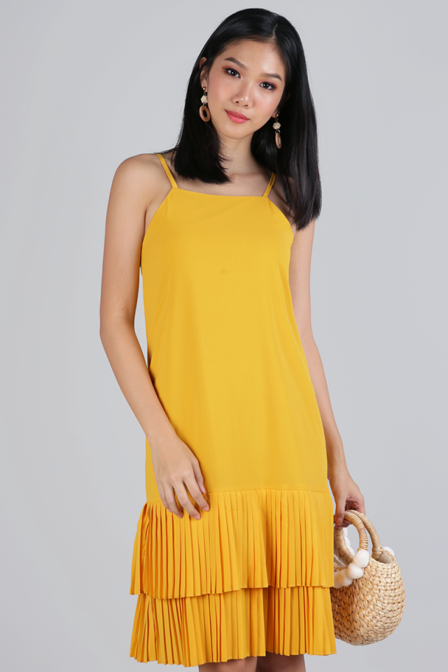 Darlene Pleated Dress (Sunshine Yellow)