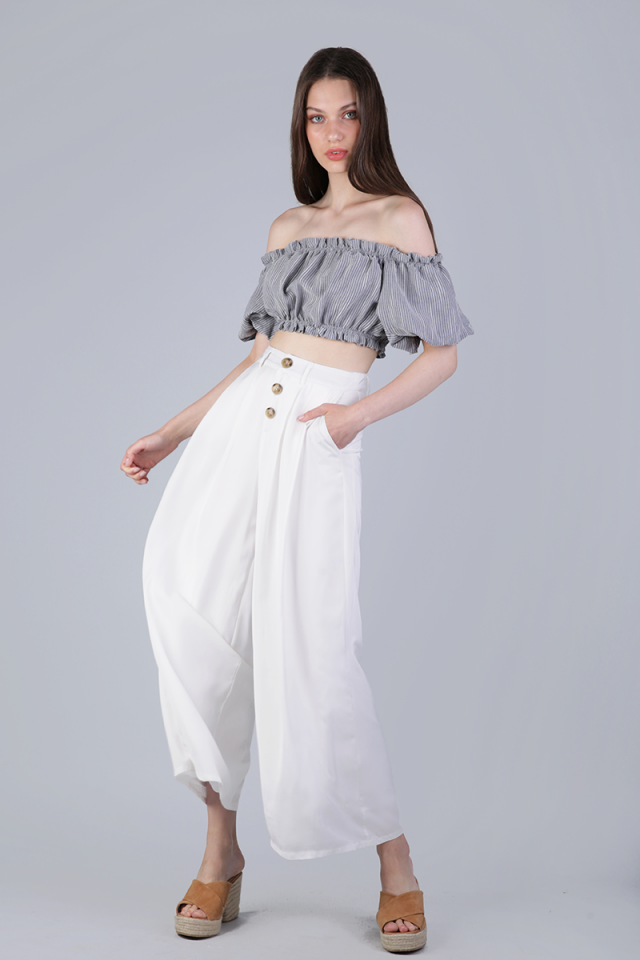 Colette Button Flare Pants (White)