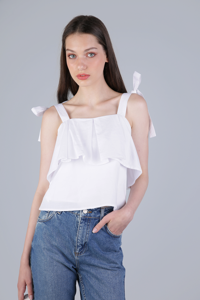 Jemma Ribbon Top (White)