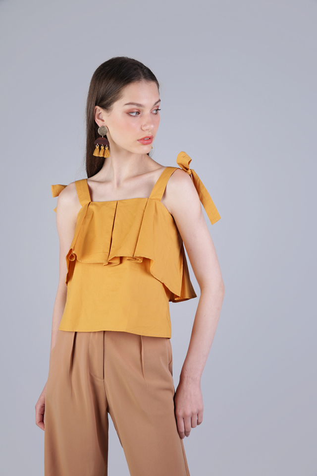 Jemma Ribbon Top (Mustard)