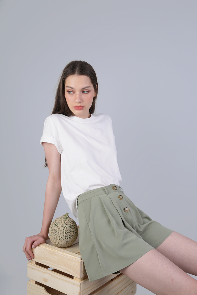 Kady Button Shorts (Sage Green)