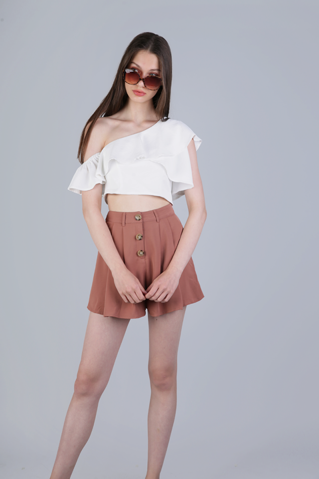 Kady Button Shorts (Tea Rose)