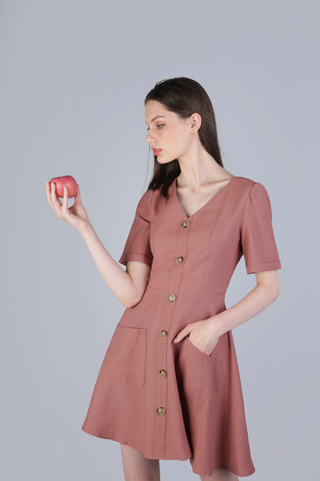 Leyton Button Sleeved Dress (Rose Taupe)