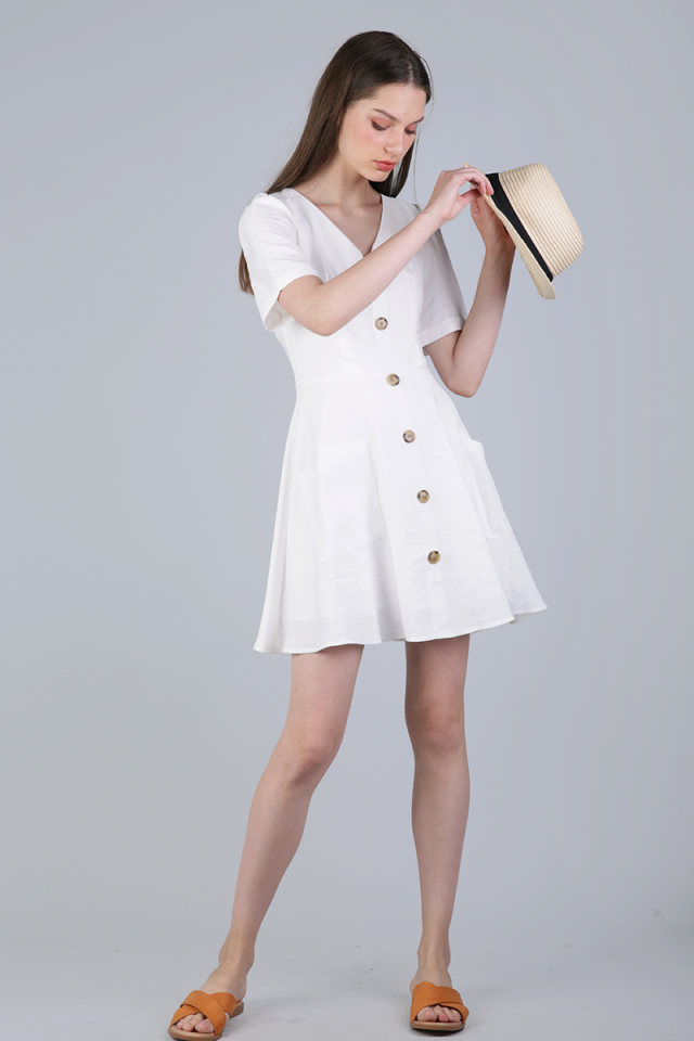 Leyton Button Sleeved Dress (White)