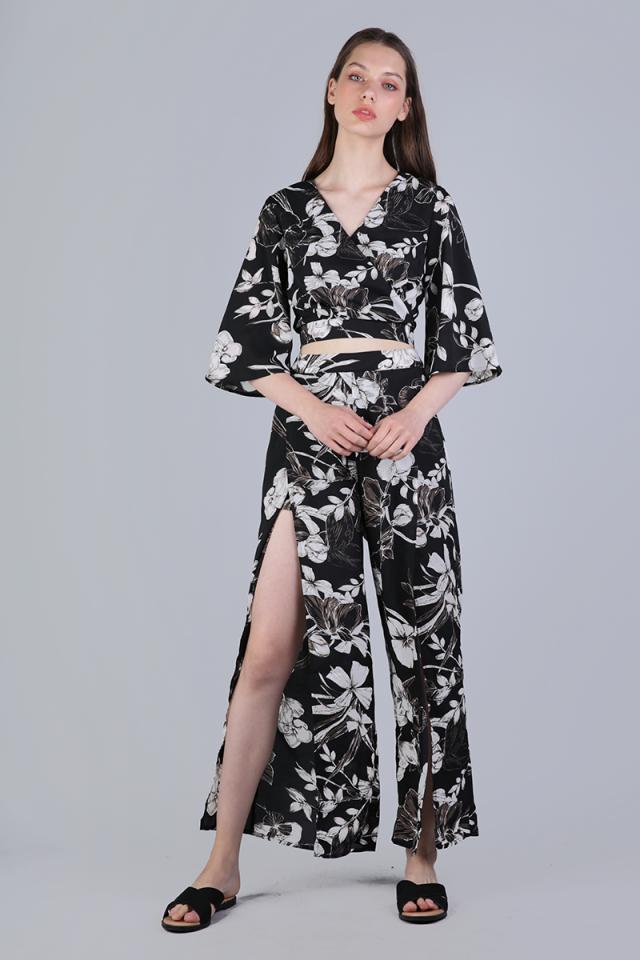 Stradun Split Pants (Black Florals)