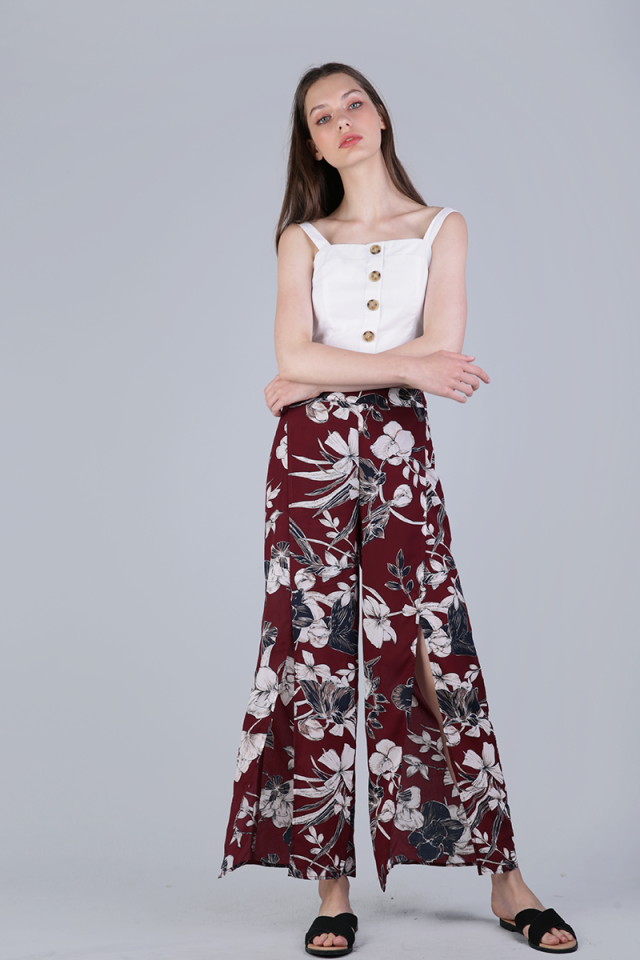 Stradun Split Pants (Red Florals)