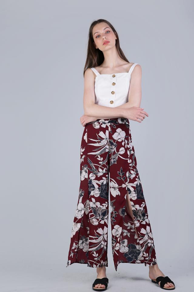 Stradun Split Pants (Red Florals)