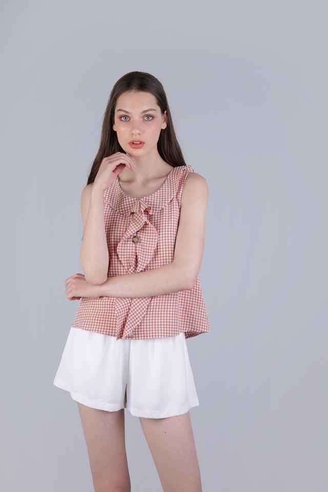 Jill Ruffles Top (Pink Gingham)