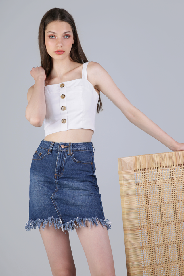 Tasha Button Cropped Top (White)