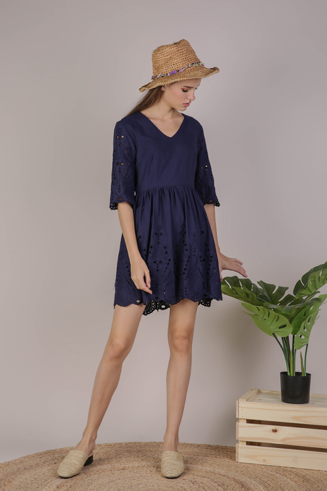 Celia Sleeved Dress (Navy Eyelet)