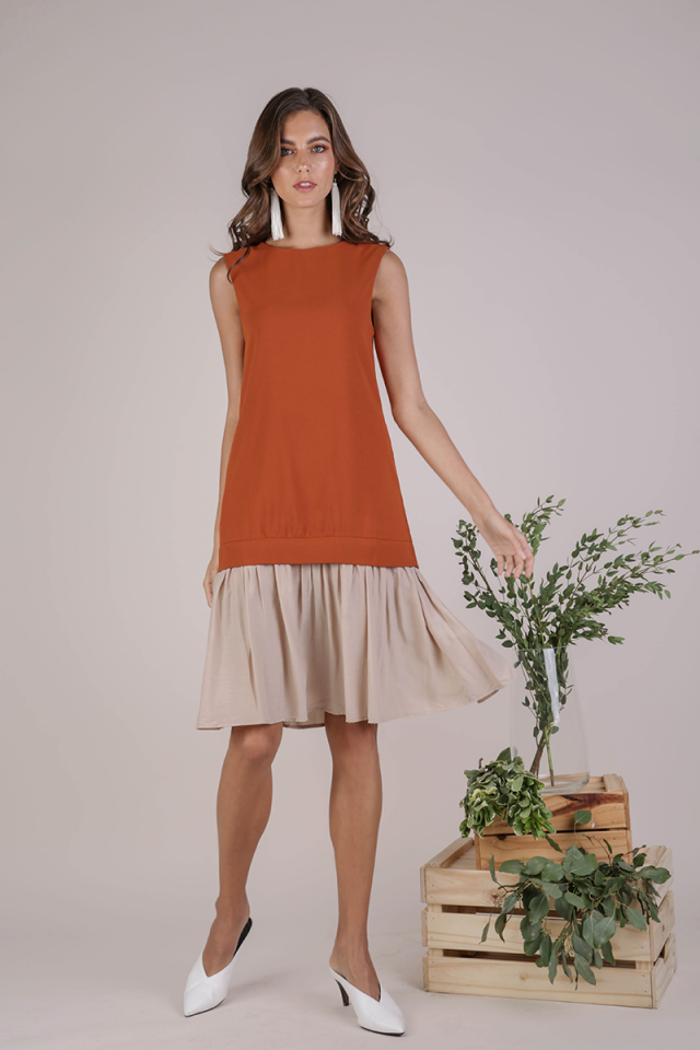 Nikki Colourblock Dress (Tangerine)