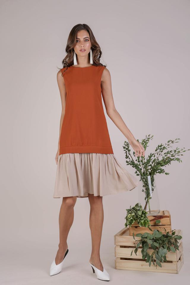 Nikki Colourblock Dress (Tangerine)