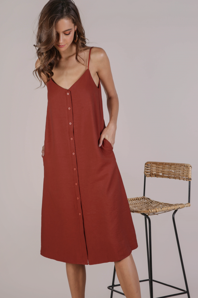 Tris Button Down Midi Dress (Rust)