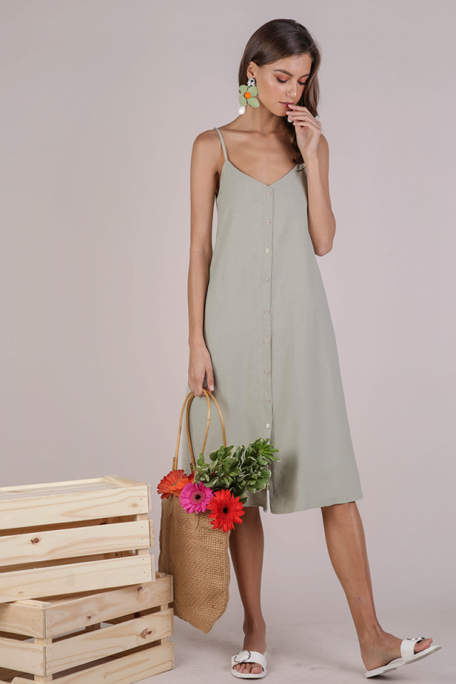 Tris Button Down Midi Dress (Sage Green)